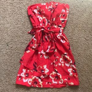 Red Floral Strapless Express Dress